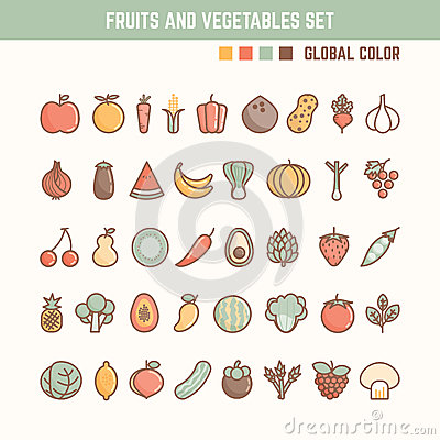 Free Fruits And Vegetables Outline Icon Set Royalty Free Stock Photos - 57165588