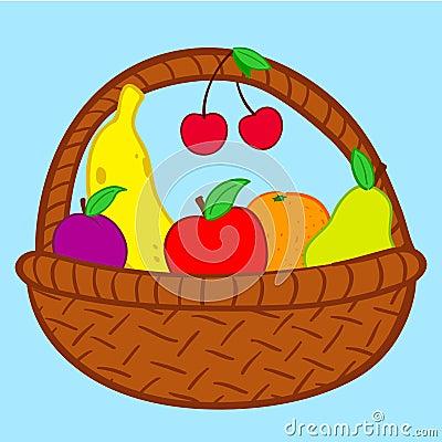 Fruits in basket doodle