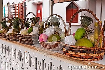Fruits in basket on shelves tilted left