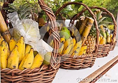 Fruits in basket on shelves tilted out
