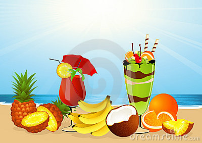Fruits on the beach