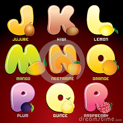 Fruits And Berries In Alphabetical Order. Vector