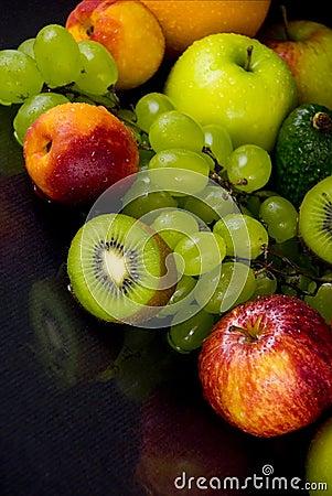 Fruits on black