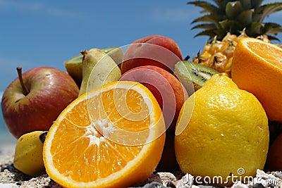 Fruits on botom blue sky