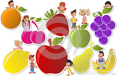 Fruits and cartoon children