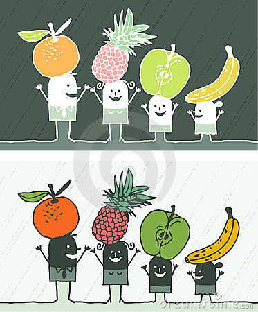 Fruits colored cartoon