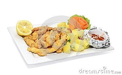 Fruits de mer cuits à la friteuse