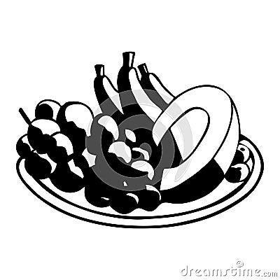 Fruits on dish.