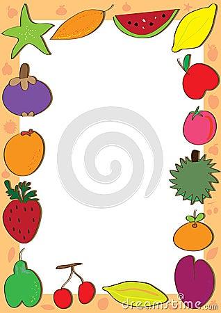 Fruits Doodle Sets Frame_eps