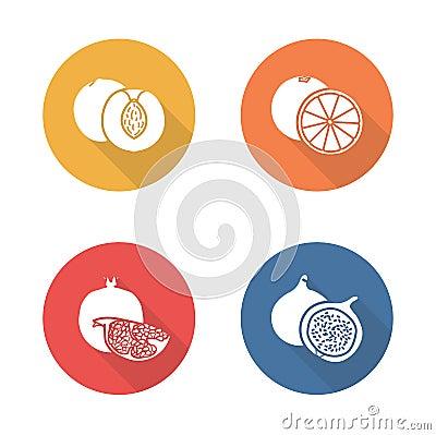 Free Fruits Flat Design Icons Set. Half Sliced Stock Photo - 63699660