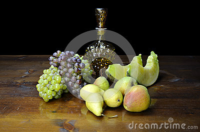 Fruits and grape shaped bottle