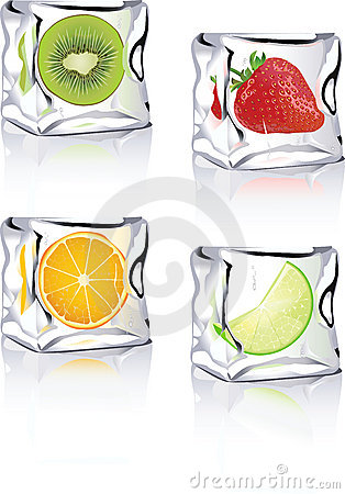 Fruits in ice cube icons for vista, xp, print