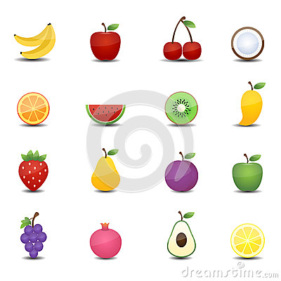 Free Fruits Icons Stock Photo - 31980000