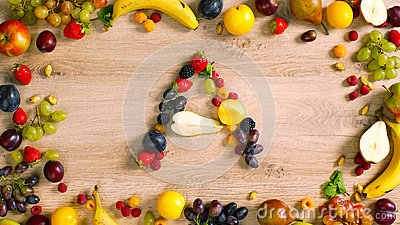 Fruits made letter A Stock Photo