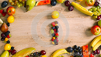 Fruits made letter I Stock Photo