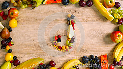 Fruits made letter J Stock Photo