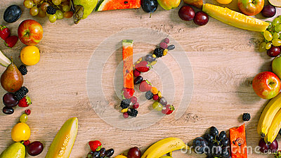 Fruits made letter K Stock Photo
