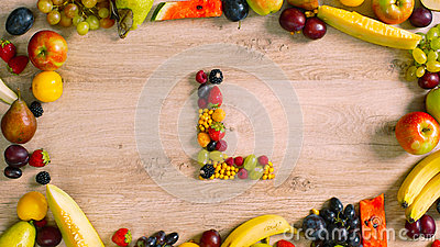 Fruits made letter L Stock Photo
