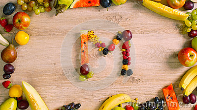 Fruits made letter M Stock Photo