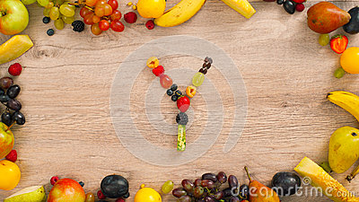 Fruits made letter Y Stock Photo