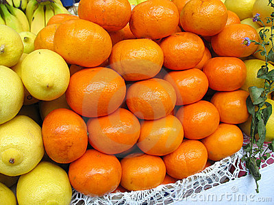 Fruits mandarin and lemons in a show-window