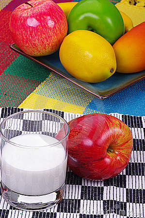 Fruits and milk