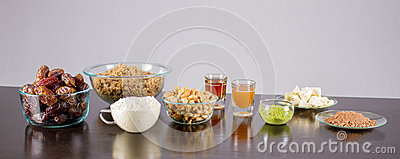 Fruits and nuts and vegetarian food