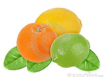 Fruits of orange, lemon and lime with green leaf