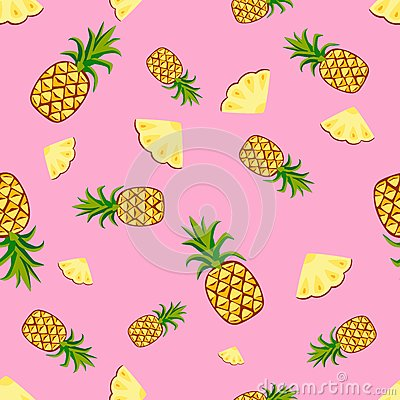 Fruits pineapple seamless patterns vector Vector Illustration