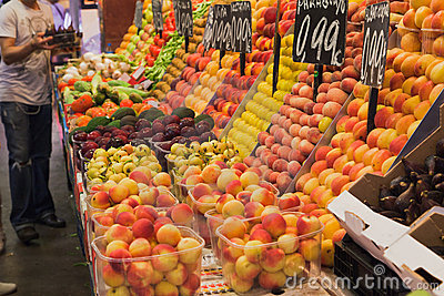 Fruits in Saint Joseph Market Barcelona Editorial Stock Image