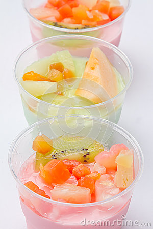 Fruits salad, milk