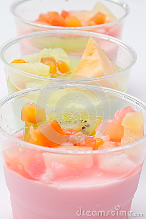 Fruits salad milk