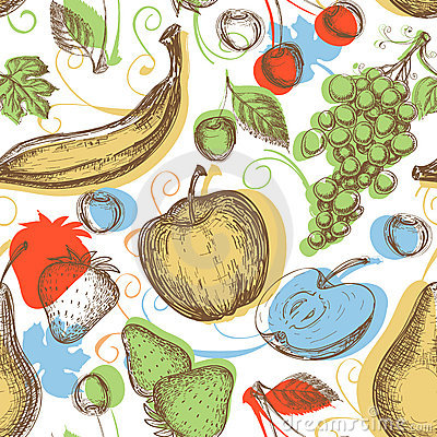 Free Fruits Seamless Pattern Stock Images - 23007714