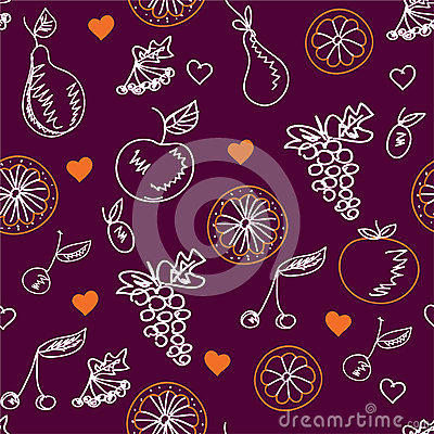 Fruits sketches seamless pattern