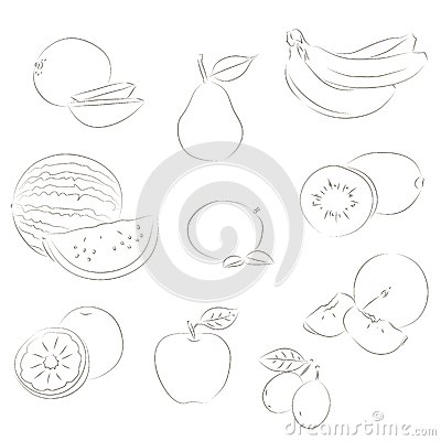 Fruits sketchy icons