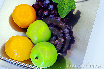 The fruits in steel plate