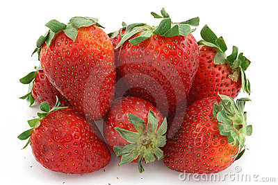 Fruits strawberry many isolated