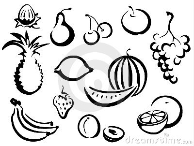 Fruits symbols collection