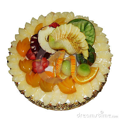 Fruits tart isolated in white