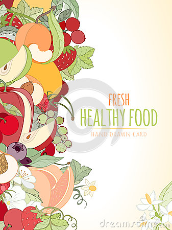 The Fruits and the text Vector Illustration