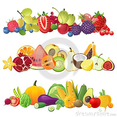 Free Fruits Vegetables And Berries Borders Royalty Free Stock Image - 45436626
