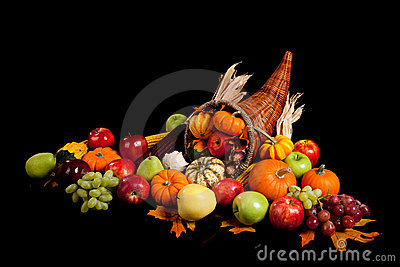 Fruits and vegetables in a cornucopia