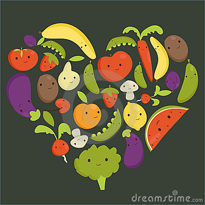 Fruits and vegetables heart shape