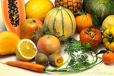 Fruits and vegetables orange coloros