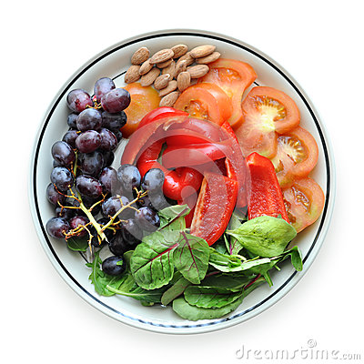 Fruits and Vegetables on a Plate