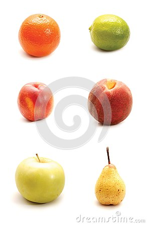 Fruits  on white background