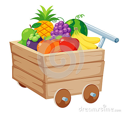 Fruits in Wood trolley