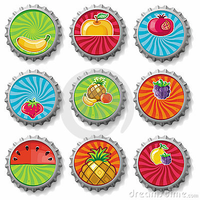 Fruity bottle caps -  set
