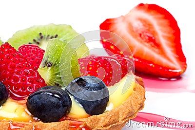 Fruity custard tart close up