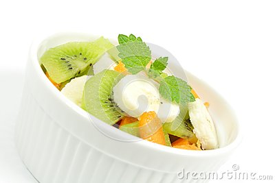Fruity salad in white bowl